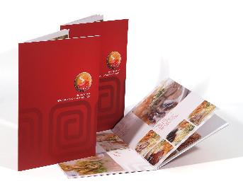 Food menu, red cover laminated, smooth skin, not wrinkled