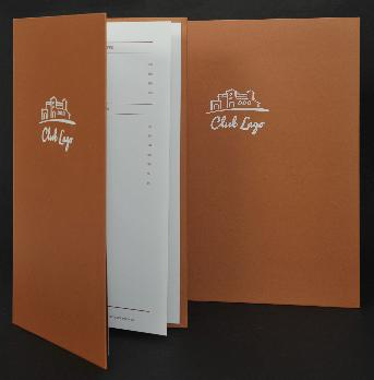 Sample of food menu, 118 gsm art paper, orange inkjet