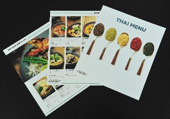 Food Menu, printed with 250 gsm white Tintoretto paper