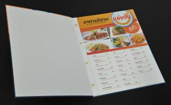 The menu is printed in white. Laminate coating