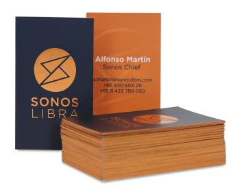 Business card size 5 x 8.5 cm , art paper 300 grams.