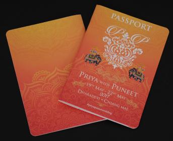 PASSPORT , Cover with Orange Printed on Card Paper with Lamination