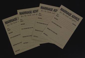 Marriage Advice Card , Print Digital Black 1 Side on Kraft Paper 250 gsm