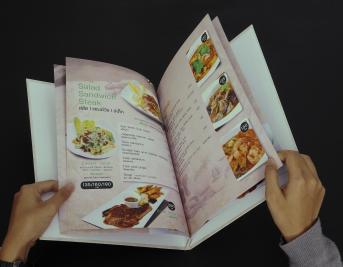 Food menu, cardboard and art paper wrap