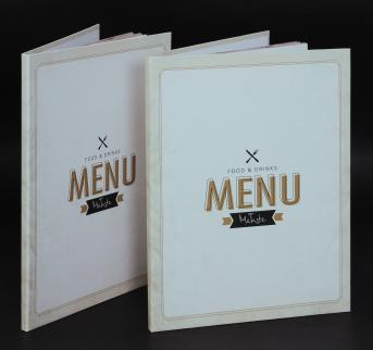 Food menu A4 size cardboard cover.